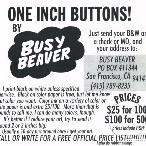 One inch buttons ad from Busy Beaver Button Company