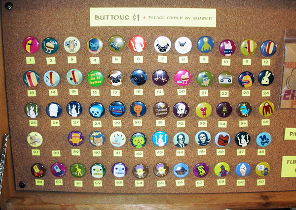 buttons on cork board