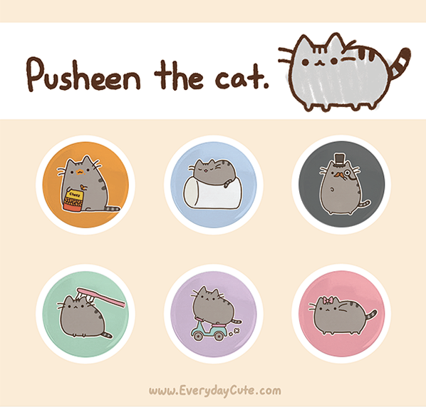 one inch Pusheen Button designs