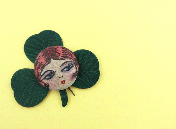 historic clover flapper pin back button