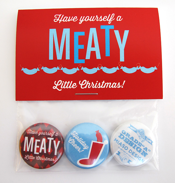 A Meaty Christmas button pack