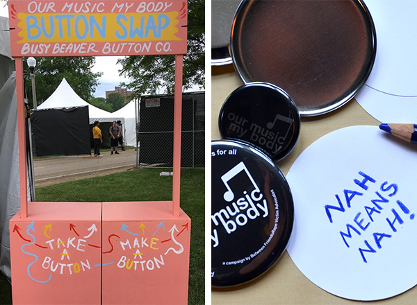 our music my body button making booth