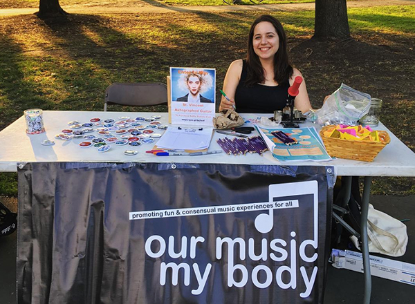 our music my body button making table