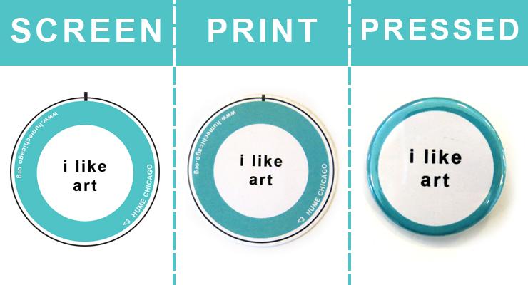 button design compared to printed button compared to pressed button