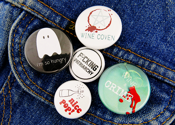 wine and crime buttons